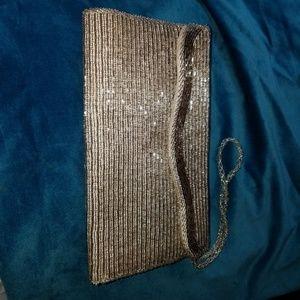 Handbags - Silver Beaded Clutch